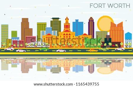 Blue Skies Of Texas >> Fort Worth Texas City Skyline Color Stok Vektor Telifsiz