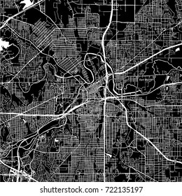 Fort Worth, Texas. Downtown vector map. City name on a separate layer. Art print template. Black and white.