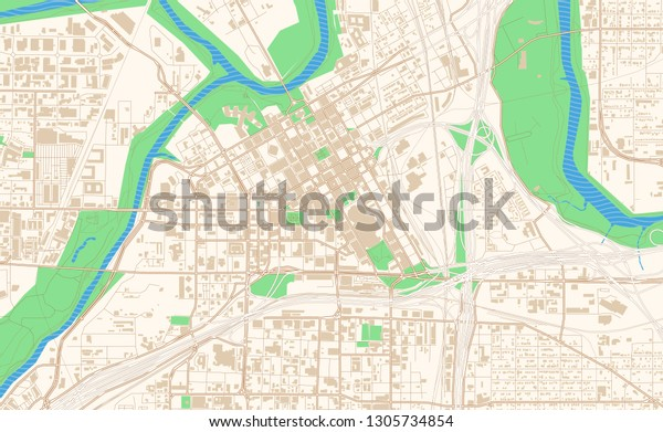 Fort Worth Texas Printable Map Excerpt Stock Vector (Royalty ...