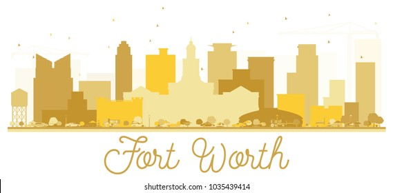 Fort Worth Texas USA City skyline Golden silhouette. Simple flat concept for tourism presentation, banner, placard or web site. Fort Worth Cityscape with landmarks. Vector illustration.