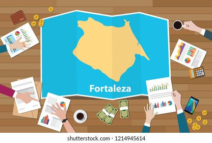 fortaleza brazil ceara city region economy growth with team discuss on fold maps view from top vector illustration