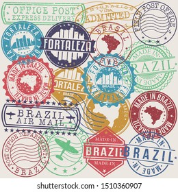 Fortaleza Brazil Set of Stamps. Travel Stamp. Made In Product. Design Seals Old Style Insignia.
