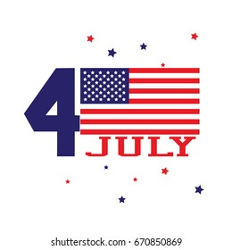 Forth of july concept. Independence day with usa flag isolated