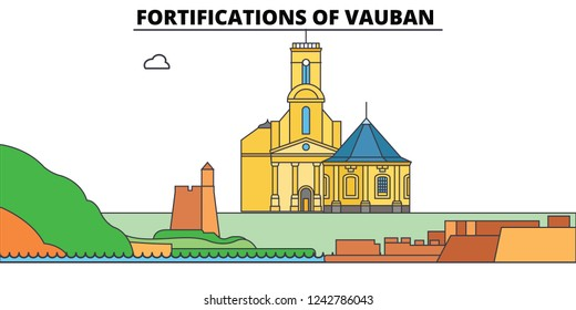 Fortifications Of Vauban  line travel landmark, skyline, vector design. Fortifications Of Vauban  linear illustration.