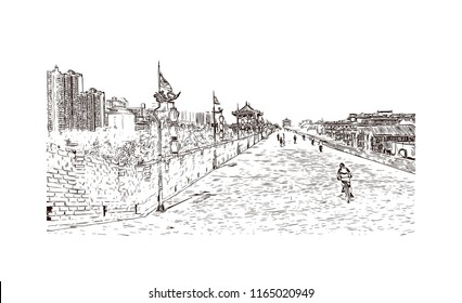 The fortifications of Xi'an, also known as Xi'an City Wall, in Xi'an, an ancient capital of China. Hand drawn sketch illustration in vector.