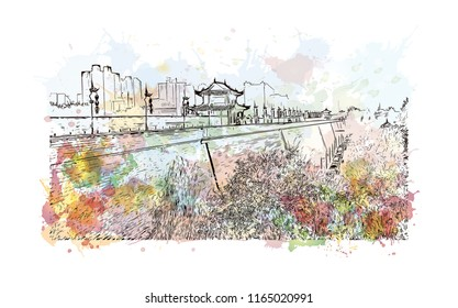 The fortifications of Xi'an, also known as Xi'an City Wall, in Xi'an, an ancient capital of China. Watercolor splash with hand drawn sketch illustration in vector.