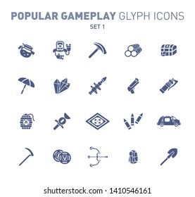 Fortnite epic game glyph icons. Vector illustration of military facilities. Robot, pickaxe, crystal, and weapons. Solid flat design. Set 1 of blue icons isolated on white background.