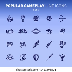 Fortnite game play outline icons. Vector illustration of combat military facilities. Bow, robots,shield, slurp juice and weapons. Linear flat design. Set 4 of blue icons isolated on blue background