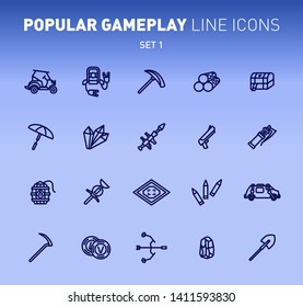 Fortnite game play outline icons. Vector illustration of combat military facilities. First aid kit, buggy car, scythe and weapons. Linear flat design. Set 1 of blue icons isolated on blue background.