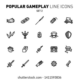 Fortnite game play outline icons. Vector illustration of combat military facilities. Drift board, sword, rocket launcher and weapons. Linear flat design. Set 2 of black icons isolated on white