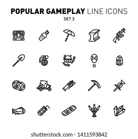 Fortnite game play outline icons. Vector illustration of combat military facilities. Chest, machine gun, metal and weapons. Linear flat design. Set 3 of black icons isolated on white background.