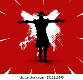 Fortnite illustration. Battle royale concept. Scarecrow(skin) silhouette on bright background with brush strokes and dirty marks (grunge style) vector illustration. Fortnite сharacter