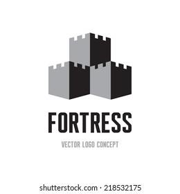 Fortress - creative logo template concept. Castle tower abstract sign illustration. Architecture design element.