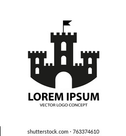 Fortress icon, logo element. Citadel silhouette. Tower or castle isolated on white background. Vector illustration
