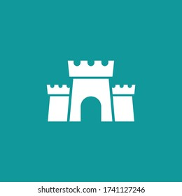 Fortress icon. Protection symbol. Tower, defense, castle, safety.  Landmark. Vector illustrarion isolated on white.