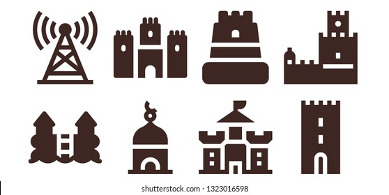 fortress icon set. 8 filled fortress icons.  Simple modern icons about  - Castle, Tower, Belem tower