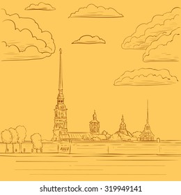 Fortress near the river.  St. Petersburg, Russia. Peter-Pavel's Fortress. Hand drawn vector illustration.