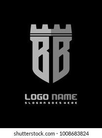 Fortress shield initial B B logo template vector