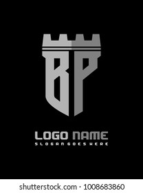 Fortress shield initial B P logo template vector