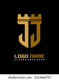 Fortress shield initial J J logo template vector