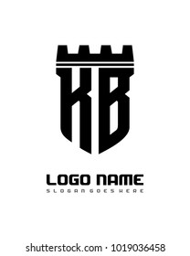 Fortress shield initial K B logo template vector