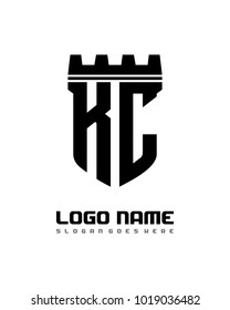 Fortress shield initial K C logo template vector