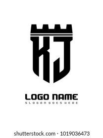 Fortress shield initial K J logo template vector