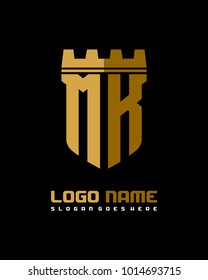 Fortress shield initial M K logo template vector