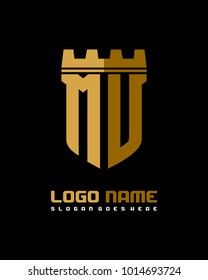 Fortress shield initial M U logo template vector