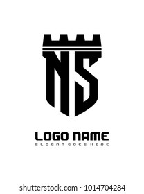 Fortress shield initial N S logo template vector