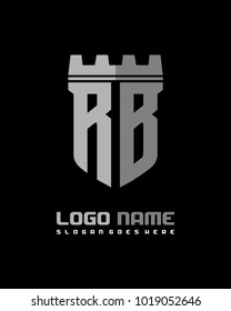 Fortress shield initial R B logo template vector