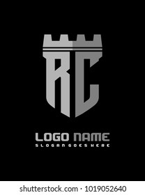 Fortress shield initial R C logo template vector