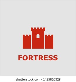 Fortress symbol. Outline fortress icon. Fortress vector illustration for graphic art.