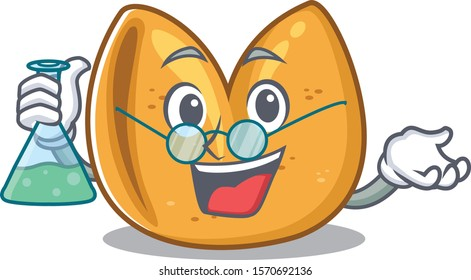 Fortune cookie as a funny Professor cartoon character holding glass tube