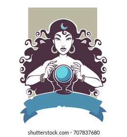 fortune teller, beautiful gypsy girl reading future on crystal ball