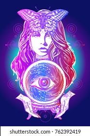 Fortune teller, crystal ball, mystic and magic. All seeing eye of future. Occult symbol of the fate predictions. Beautiful witch woman t-shirt design