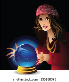 Fortune teller. EPS 8 vector, grouped for easy editing. No open shapes or paths.