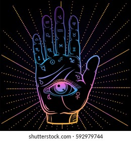 Fortune Teller Hand with Palmistry diagram, hand-drawn all seeing eye. Vector vintage illustration for tattoo template, magic alchemy zodiac symbol on dark background