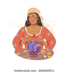 Fortune teller magic woman guessing on magic crystal ball isolated flat cartoon character. Vector future and fortune prediction, mystery witchcraft sphere, wizard magician telling fate, soothsayer