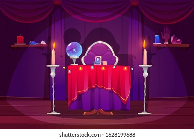 Fortune teller room with magic ball and tarot cards on table with red cloth. Vector cartoon interior of magician room with occult accessories for fate prediction, crystal, palmistry hand and candles