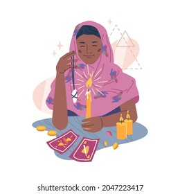 Fortune teller supernatural paranormal soothsayer mystic medium girl fortune-telling on stone and tarot cards isolated flat cartoon character. Vector destiny predicting gypsy woman, burning candle