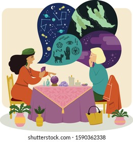 Fortune teller talking to a woman about astrology, spirits and occultism while using a crystal ball and other psychic tools.