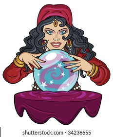 Fortune teller watching crystal ball.