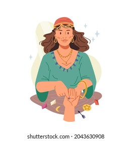 Fortune teller woman guessing and predicting on hand isolated flat cartoon illustration. Vector supernatural paranormal sorcerer, soothsayer mystic medium girl, gypsy in traditional dress, futurology