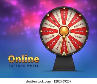 Fortune wheel background. Lucky money risk game. Spinning fortune wheels casino lottery gambling vector banner