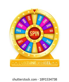 Fortune wheel. Cartoon rotating circle with colored sectors and arrow element. Lottery and random raffle prizes. Isolated spinning roulette. Win money or gifts. Risky games in casino, vector gambling
