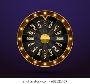 Fortune wheel, game spin, realistic 3d lucky spinning, luxury gold roulette. Vector illustration, casino background for luck, money, jackpot, play, lottery. Isolated modern winner fortune wheel.