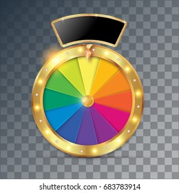 Fortune wheel, game spin, realistic 3d lucky spinning, luxury gold roulette. Vector illustration, casino background for luck, money, jackpot, play, lottery