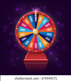Fortune Wheel with glowing lamps for online casino, poker, roulette, slot machines, card games. realistic 3d fortune wheel object isolated on dark violet background