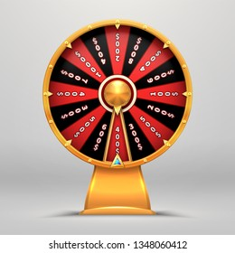 Fortune wheel. Lucky number wheeling motion people Turn 3d arrow luck objects vector sign flat illustration. Casino game of chance.